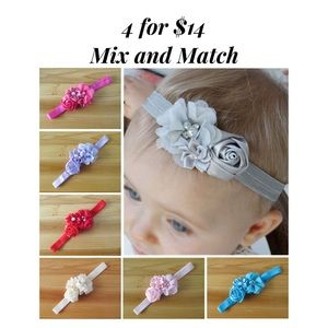 Other - Baby/Toddler 4 Flower Pearl Bow Headband